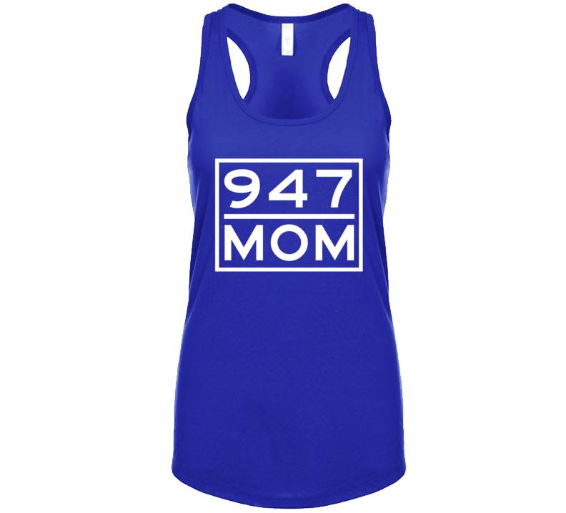 947 Mom Troy Mi Area Code Represent Hometown Ladies Racerback Tanktop