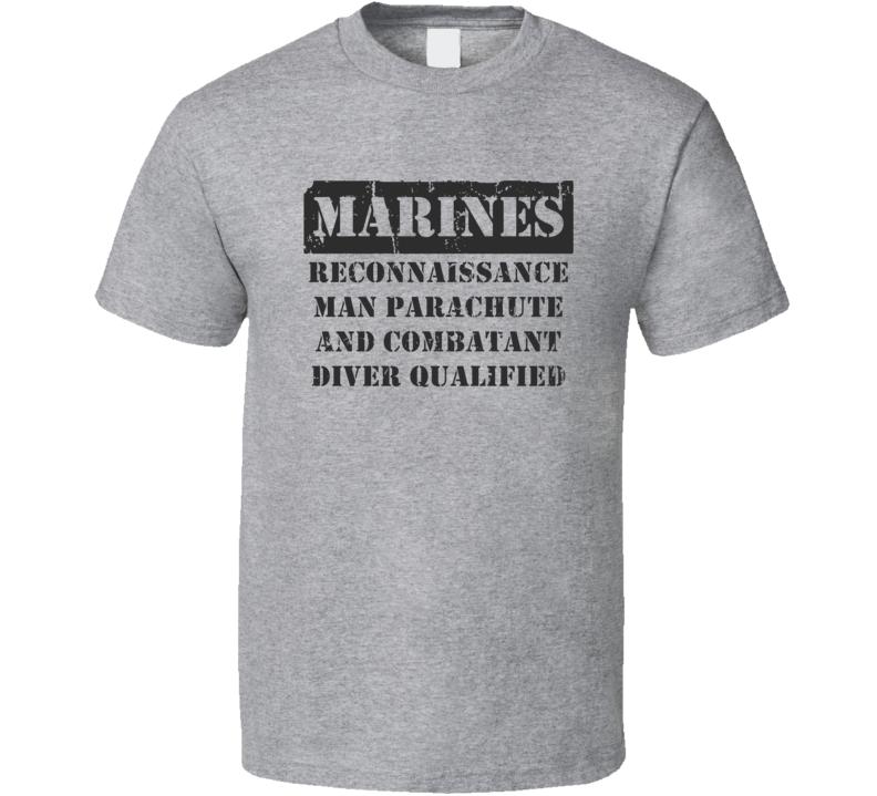 Reconnaissance Parachute and Combatant Diver Qualified Marines T Shirt
