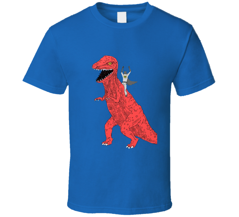 batman riding dinosaur t rex  T Shirt
