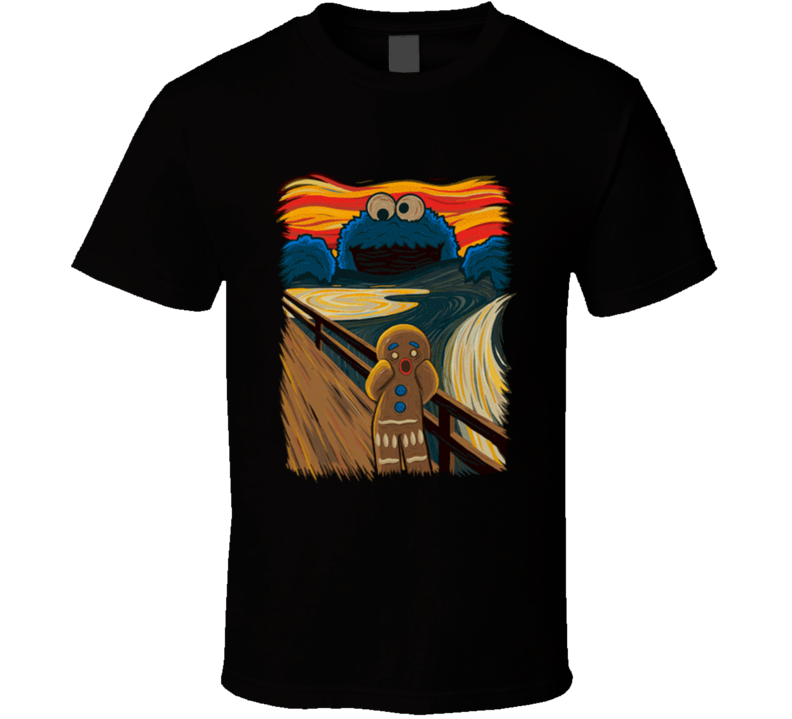 Cookie monster gingerbread man scream T Shirt