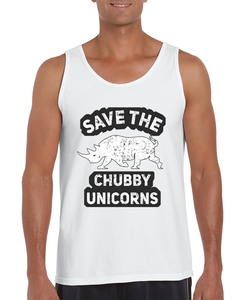 Save The Chubby Unicorns Funny Design Art Great Gift Rhino Tank Top