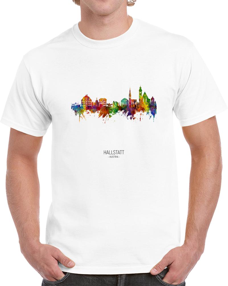 Hallstatt Austria Rainbow Skyline T Shirt