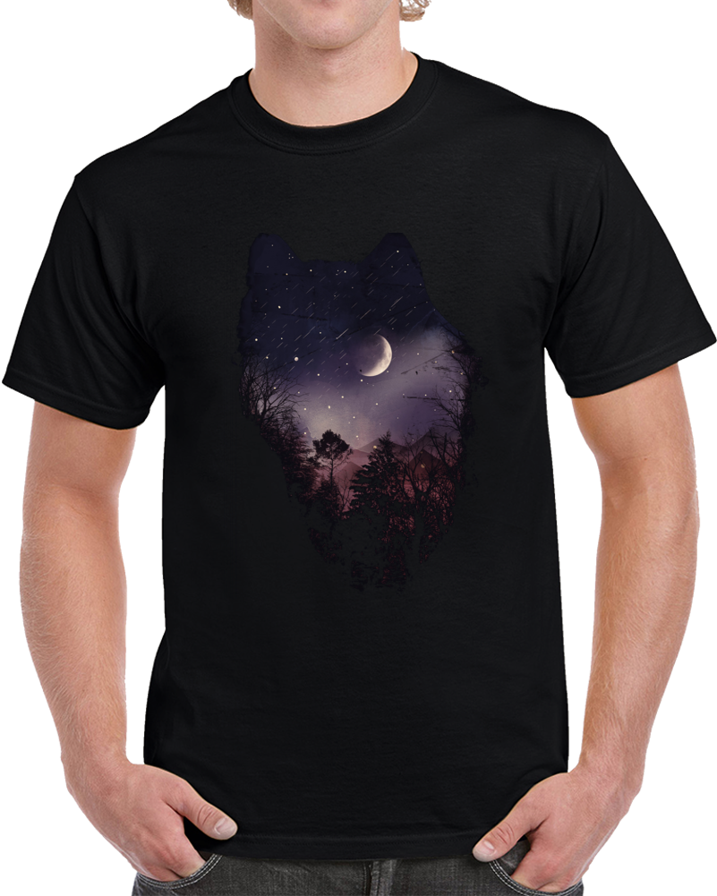 Night Of The Wolf Negative Space T Shirt