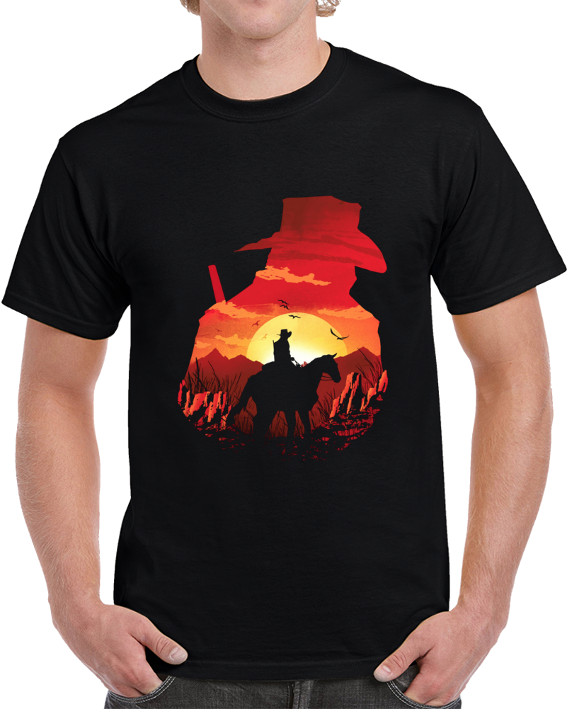 Red Sunset Negative Space T Shirt