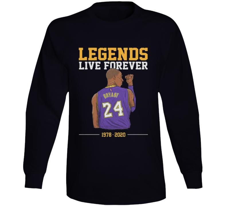 Legends Live Forever Kobe Bryant Shirt, Rip Kobe Bryant Tshirt, In Memory Of Kobe Shirt, Kobe Bryant Legends Never Die, Black Mamba  Copy Long Sleeve