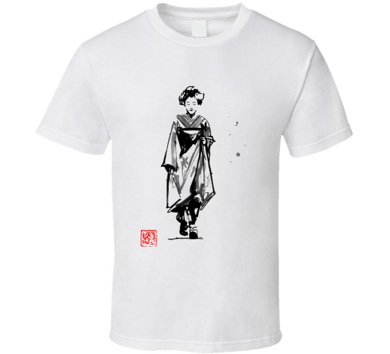 Geisha Walking In The Street Geisha, Sumie, Japan T Shirt