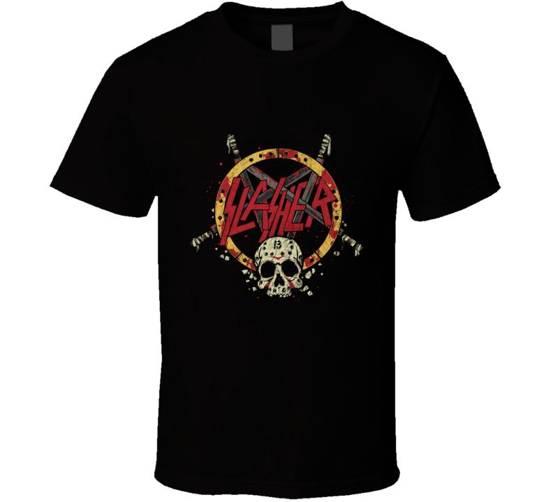 Slasher 13 Slayer, Thrash Metal, Jason Voorhees, Friday The 13th, Horror Movies, Slasher, Hockey Mask, Skull T Shirt