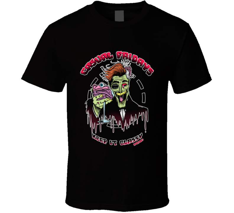 Sickn'classy Cartoon, Illustration, Humor, Color, Zombie, Skull T Shirt