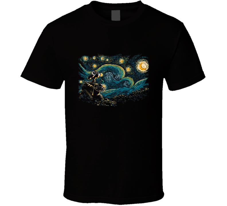 Starry Robot Wall E, Starry Night, Fantasy T Shirt