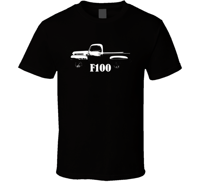 1949 F100 Pickup Truck Side View With Model Name Black T Shirt