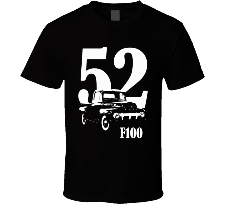 1952 F100 Pickup Truck Three Quarter Side View With Year And Model Name Black T Shirt