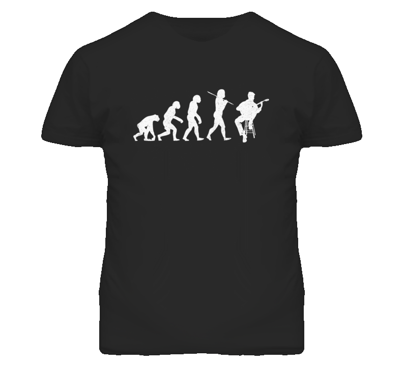 Evolution of Man to Classical Guitarist Funny Distressed Look T Shirt