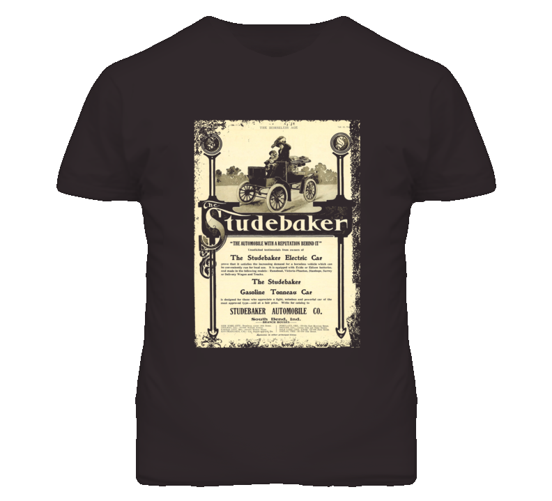 Studebaker Electric Car Vintage Ad Distressed Faded Look T Shirt