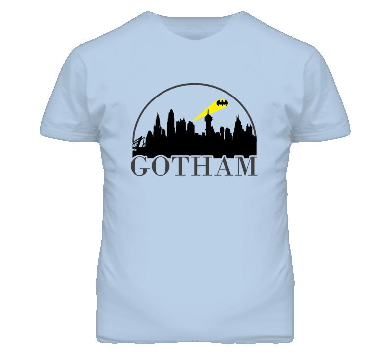 Gotham City Skyline With Batman Light T Shirt