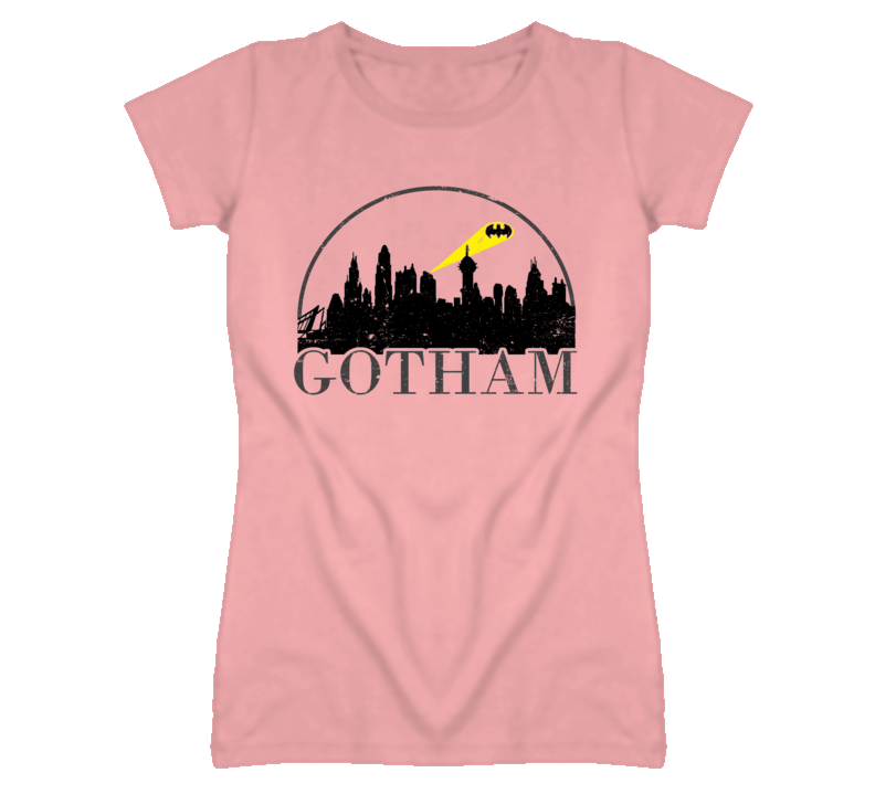Gotham City Skyline Distressed Look Light Color T Shirt
