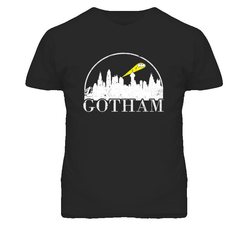 Gotham City Skyline Distressed Look Dark T Shirt