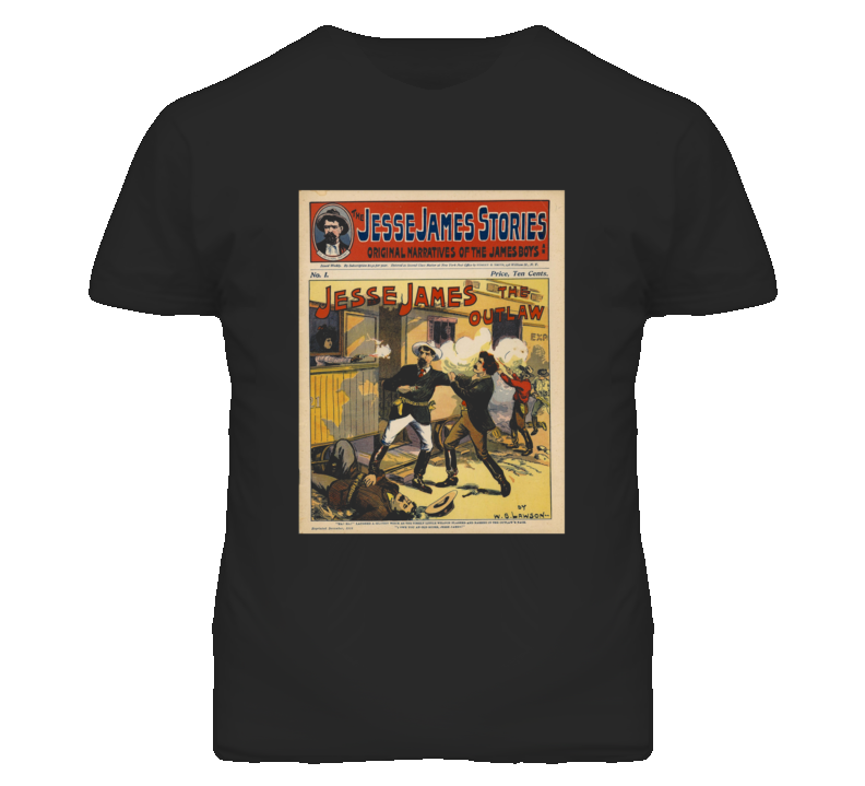 Jesse James Stories Vintage Sign Faded Look Black T Shirt