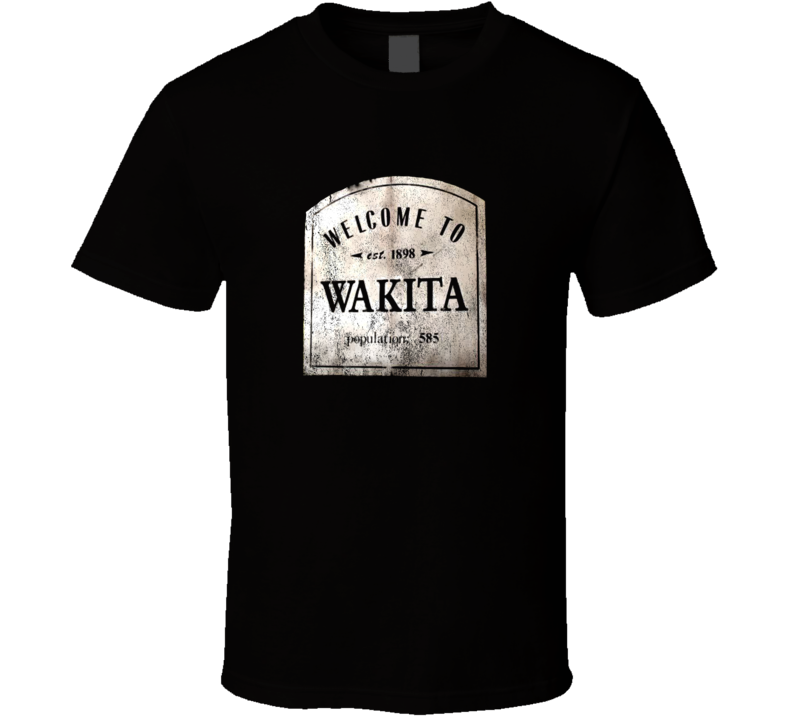 Welcome To Wakita Town Sign Twister Movie Distressed Faded Look Dark T Shirt