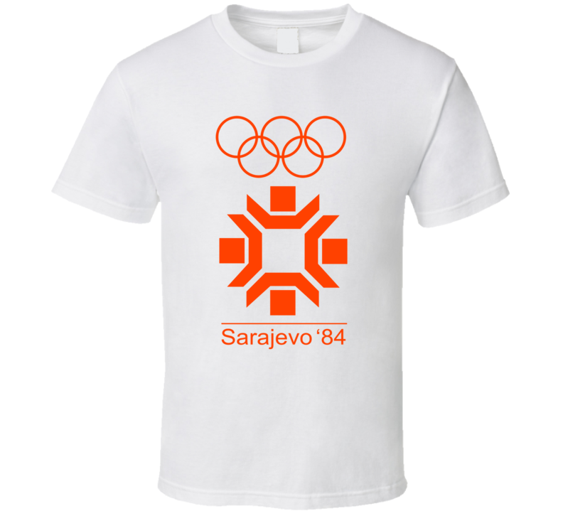 Sarajevo Winter 1984 Olympics Retro Logo World Olympiad Event T Shirt