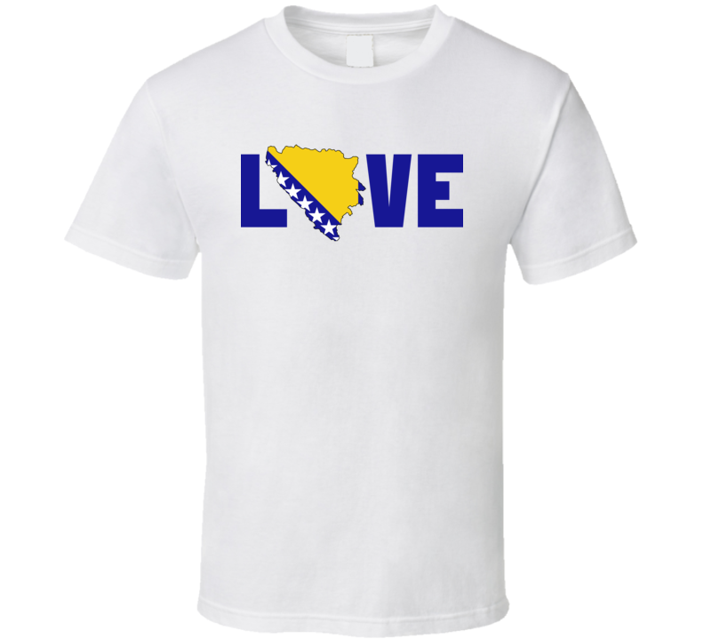 Bosnia And Herzegovina Love Heart Country Flag Olympic Team Support Fan T Shirt