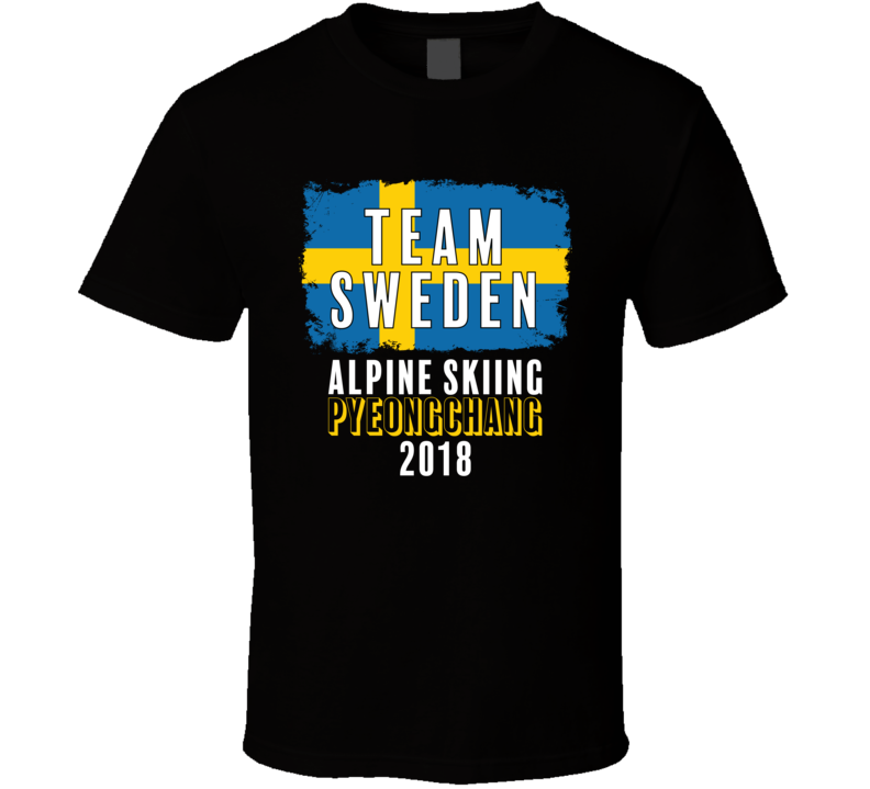 Team Flag Sweden Alpine Skiing Pyeongchang 2018 Olympic T Shirt