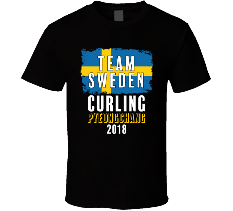 Team Flag Sweden Curling Pyeongchang 2018 Olympic T Shirt