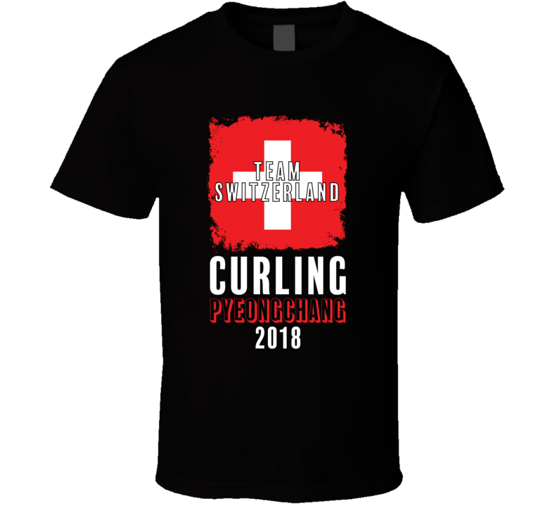 Team Flag Switzerland Curling Pyeongchang 2018 Olympic T Shirt
