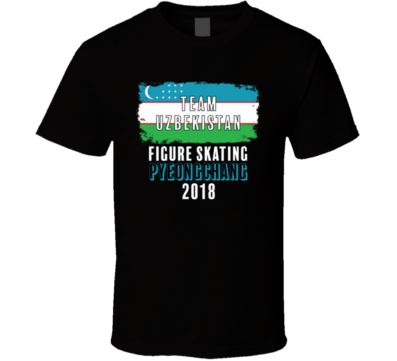Team Flag Uzbekistan Figure Skating Pyeongchang 2018 Olympic T Shirt