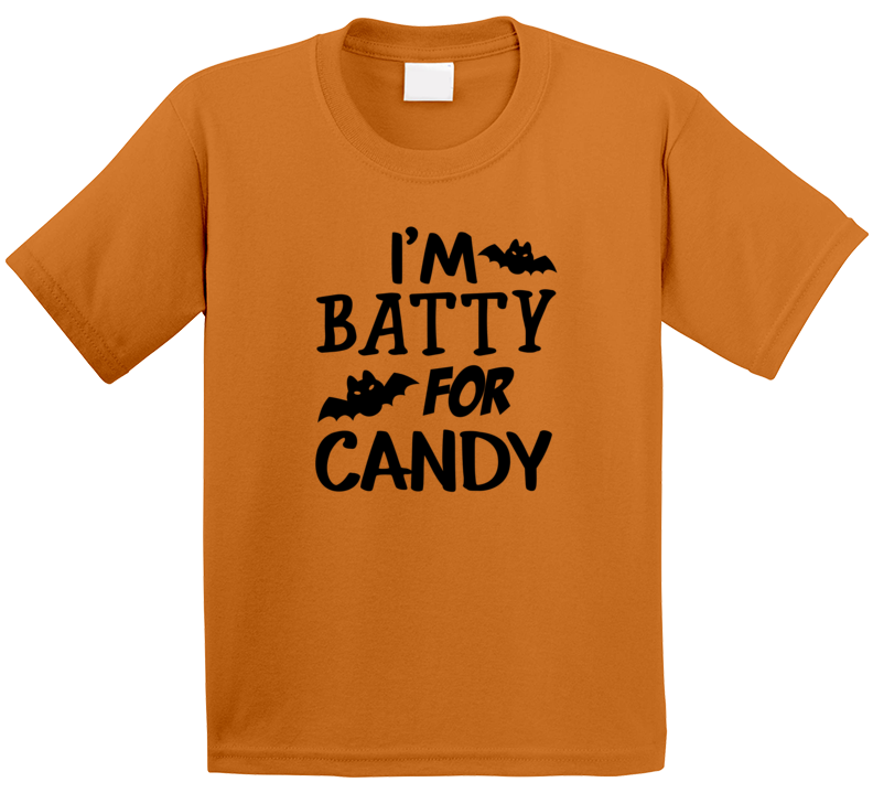 Batty For Candy Kids Funny Halloween Shirt