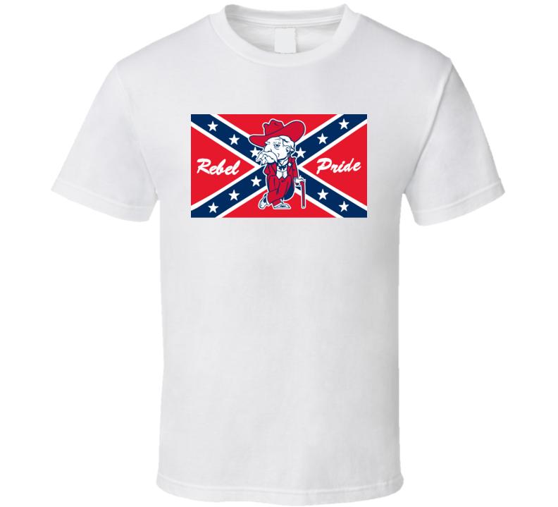 Rebel Man Mascot Confederate Flag T Shirt