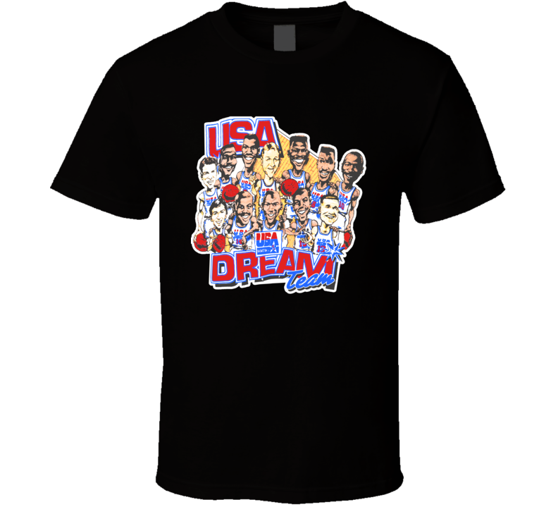 Dream Team Jordan Bird Magic USA Basketball Olympics Fan T Shirt