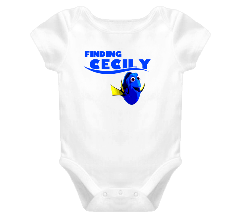 Finding Cecily Finding Dory Movie Parody Funny Name Baby One Piece