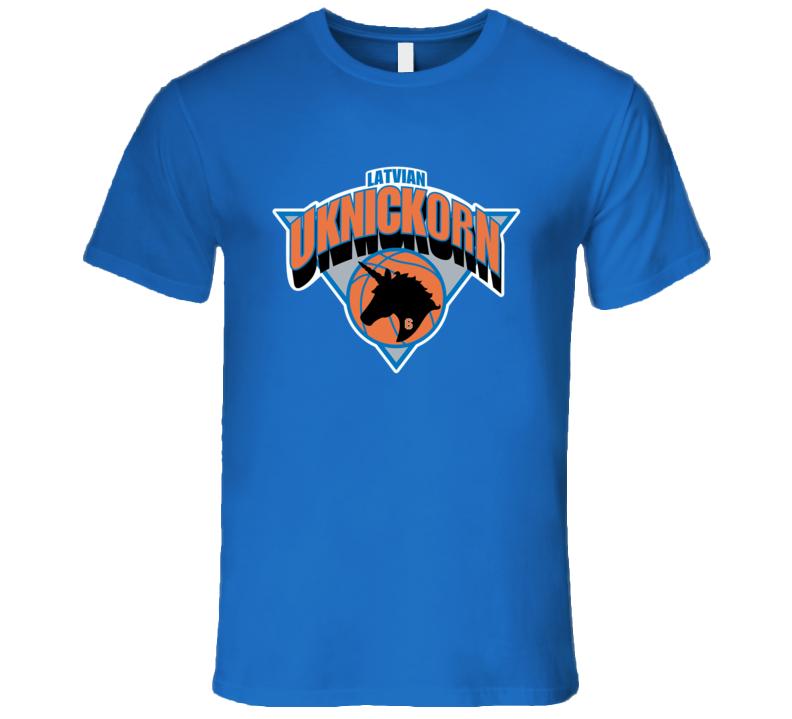 Lativian Uknickorn Kristaps Porzingis New York Basketball T Shirt