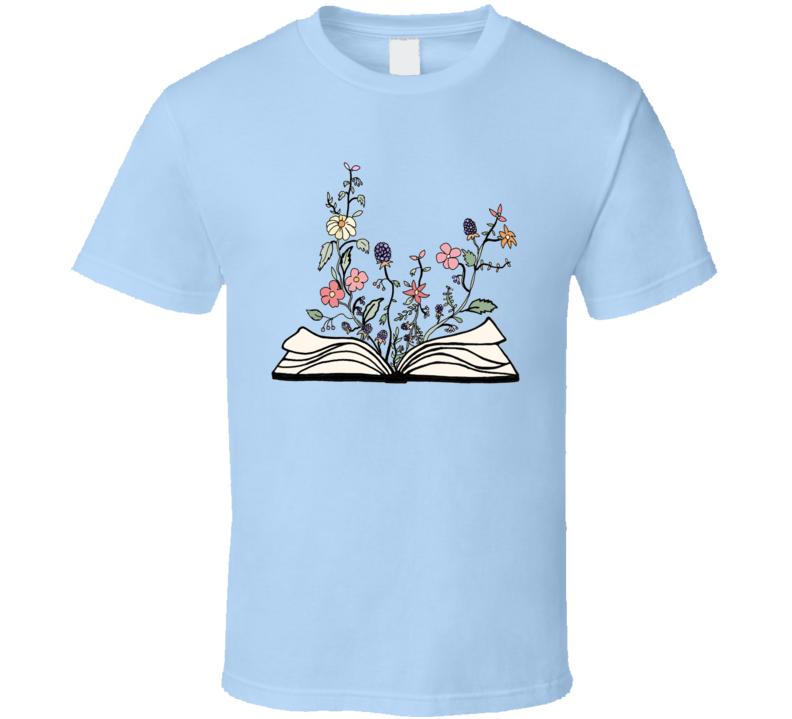 Growing Flowers Book Nature Earth Lover Nerd T Shirt