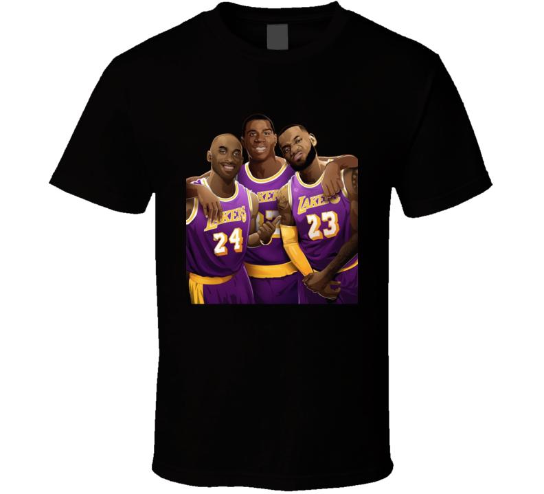 Los Angeles  Basketball Legends Lebron James Kobe  Magic Johnson Sports Fan T Shirt