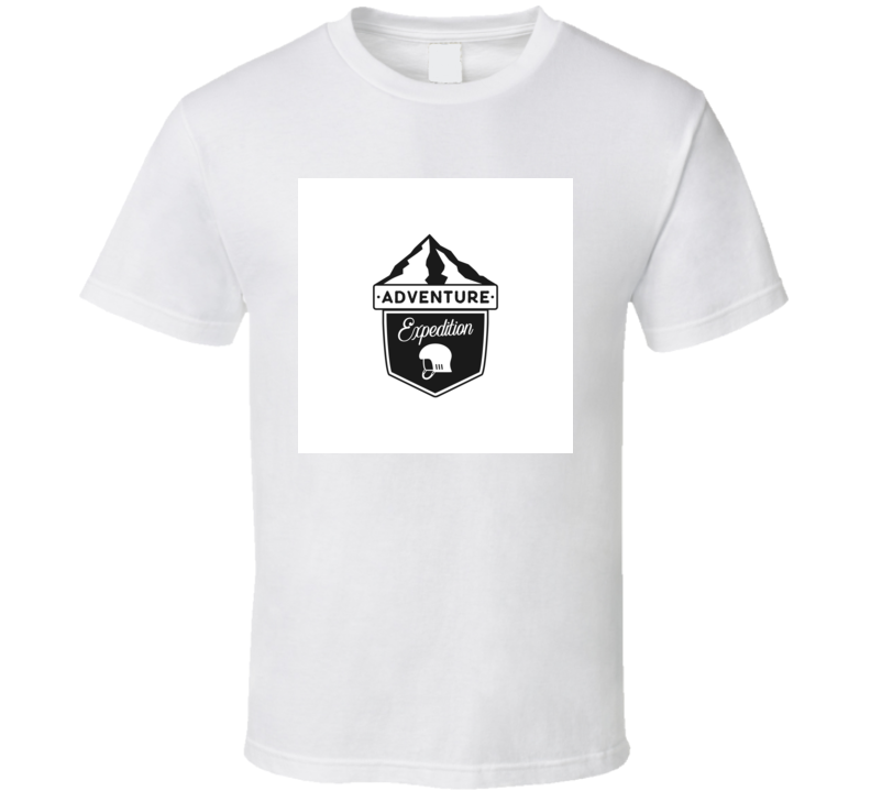 Expedition Badge With Mountains And Climbing Helmet Icon Emblem T Shirt
