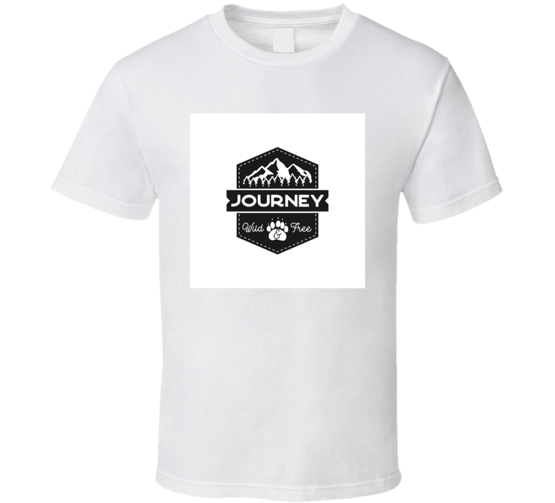 Mountain Journey Badge Wild And Free Logo Camping Adventure Emblem In Retro Style T Shirt