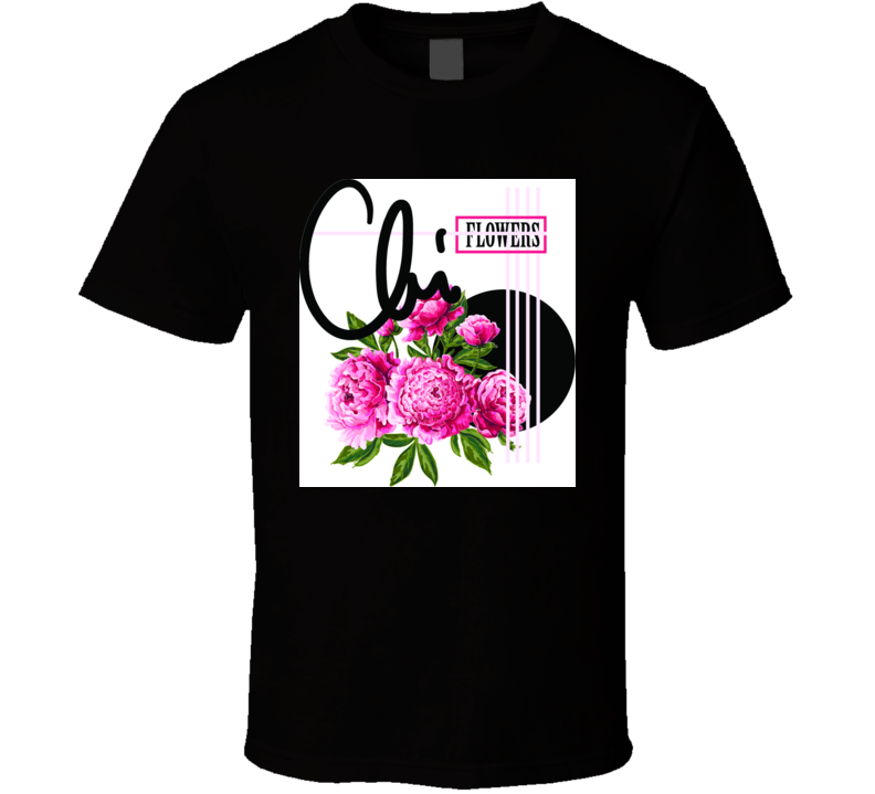 Pink Peonies And Slogan Delicate Fashion T Shirt