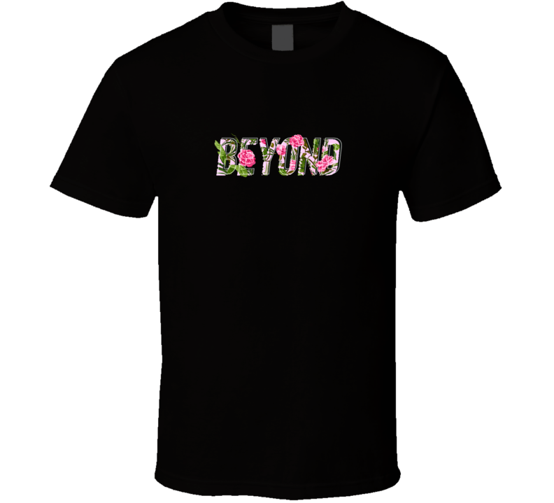 Beyond Slogan With Tropical Flower Illustration T Shirt