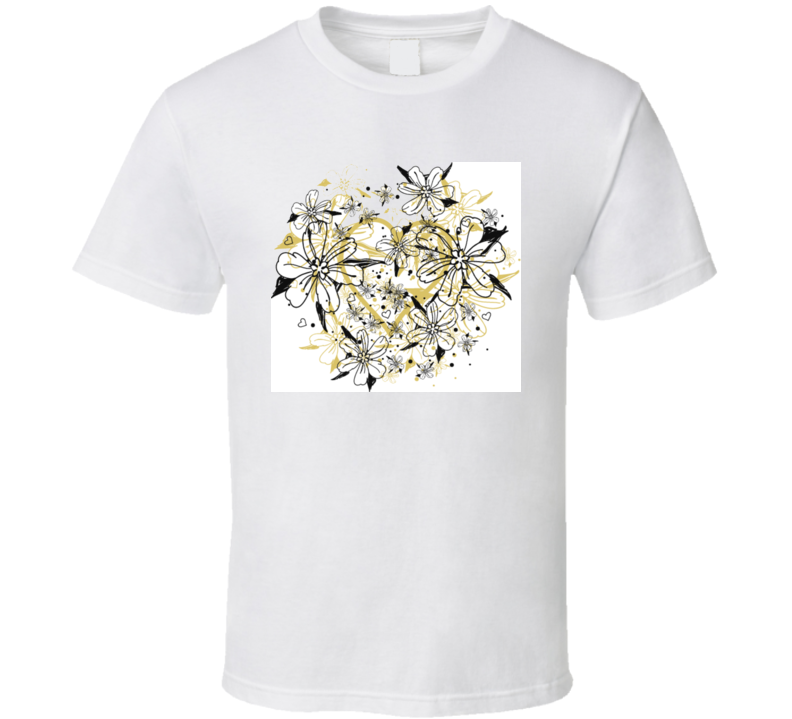 Golden Heart And Floral Splash Of Tulips T Shirt