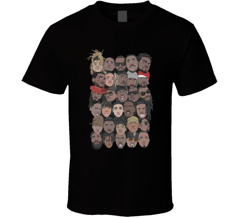 One Music Festival Rapper Cartoon Heads Rap Hip Hop Music Fan T Shirt