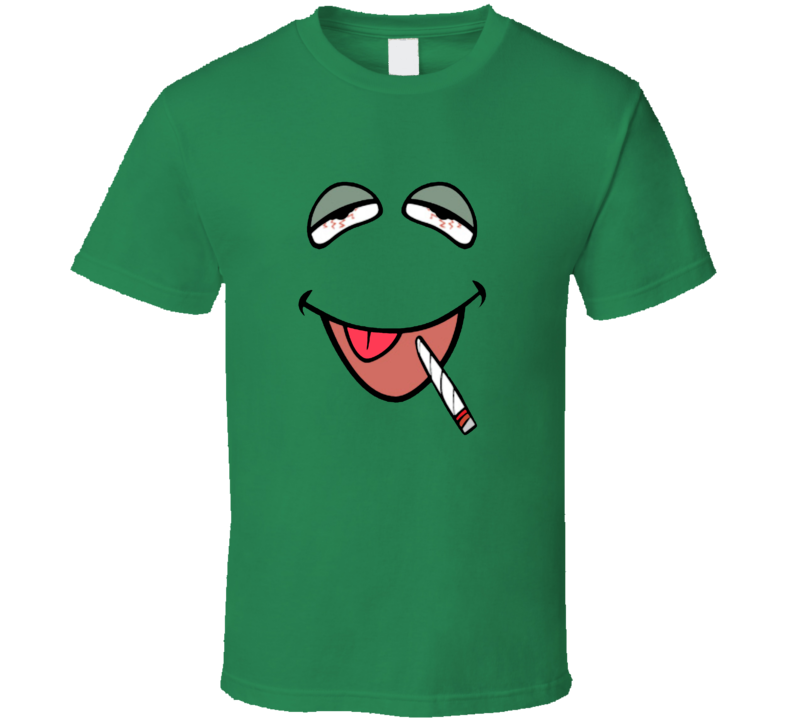High Kermit The Frog Stoned Bogart The Frog Funny The Muppets Weed Party T Shirt