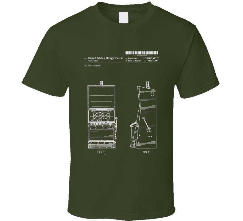Slot machine t shirt vintage design blueprint patent art apparel gift malvernweather Images
