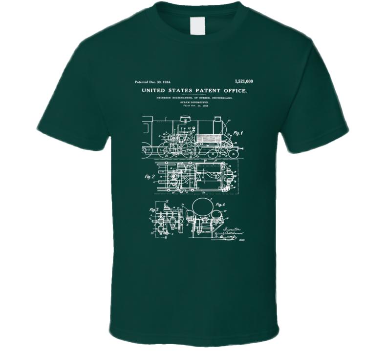 Steam locomotive t shirt vintage blueprint design patent art apparel malvernweather Choice Image