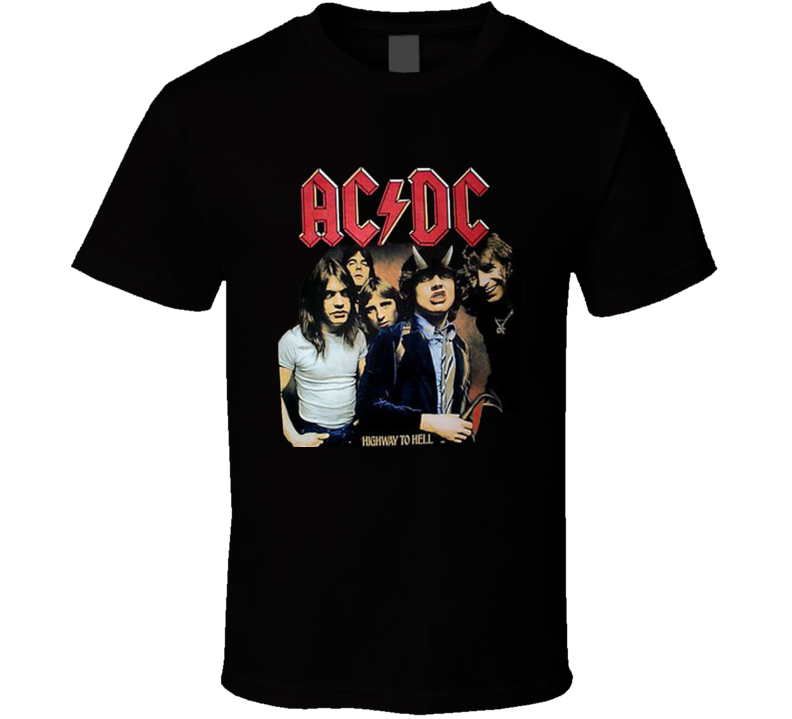 AC DC Highway To Hell Angus Young Horns Rock T Shirt