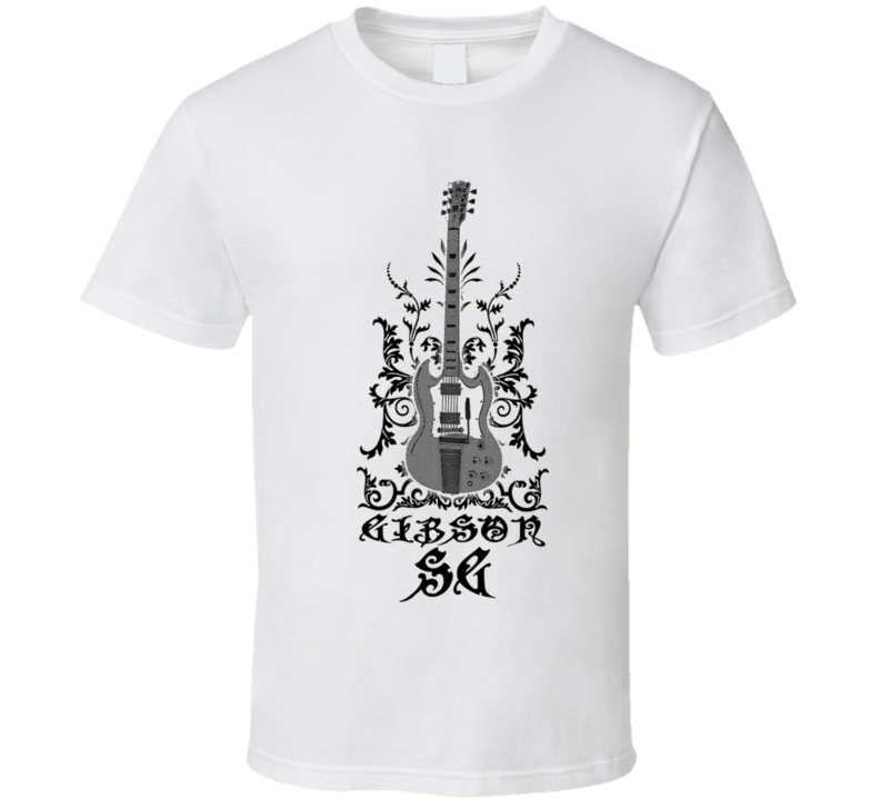 AC/DC Angus Young ACDC Gibson SG Guitar Hard Rock White T Shirt