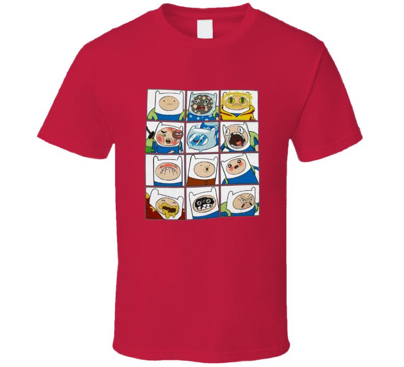 Adventure Time Faces Of Finn Cartoon T Shirt