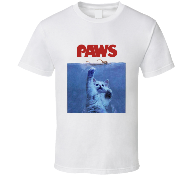 PAWS JAWS Parody When Cats Attack Custom Design FUNNY Joke Kitten T Shirt