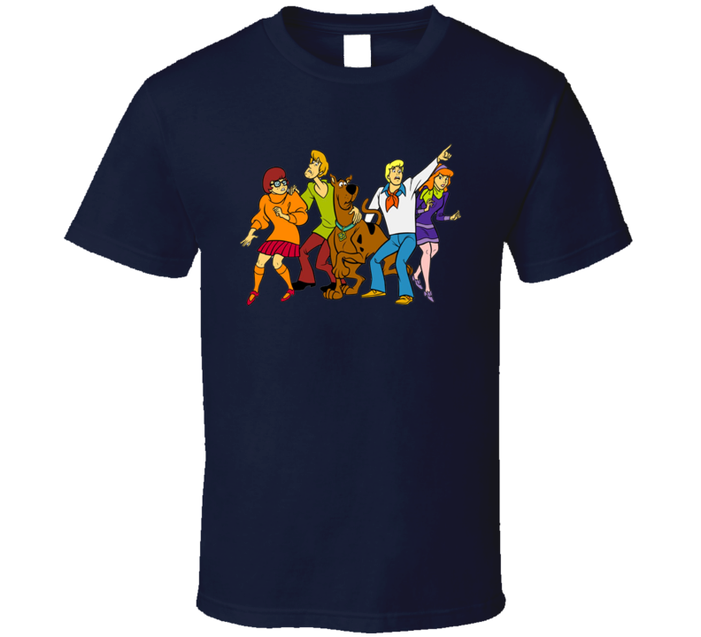 Scooby-Doo Cartoons TV Velma Shaggy Wilma Fred Mystery Gang Navy T Shirt