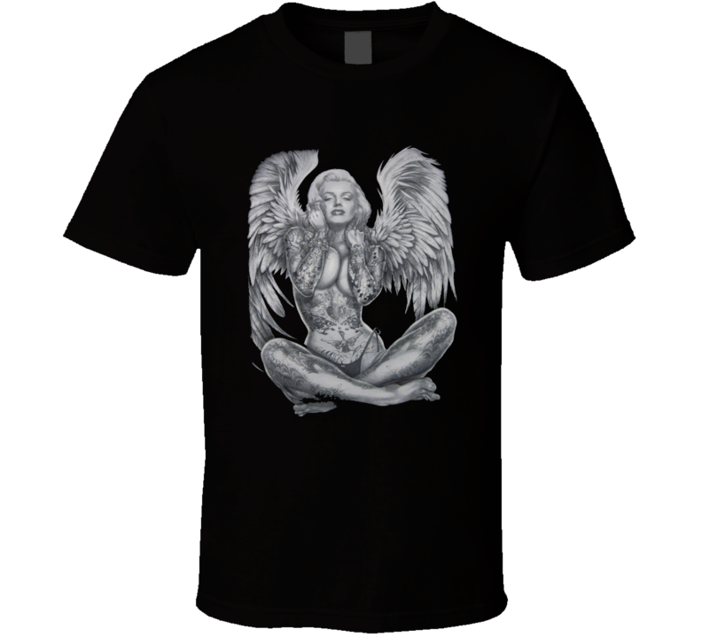 MARILYN MONROE Pierced Tattoo Angel Wings T Shirt